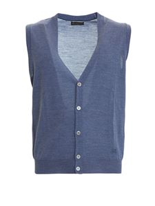 Corneliani - Light blue knitted wool vest