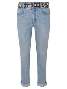 Stella McCartney - Logo belt boyfriend skinny jeans in light blue
