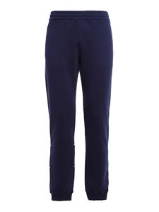 MSGM - Logo cotton trousers in blue