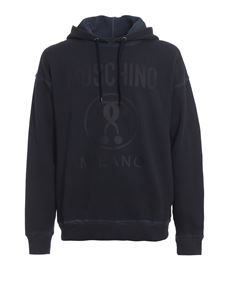 Moschino - Logo print pure cotton hoodie in blue