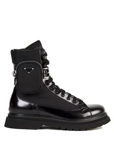 Prada - Black combat boot with pouch