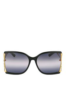 Gucci - Dark lens oversized butterfly sunglasses in black