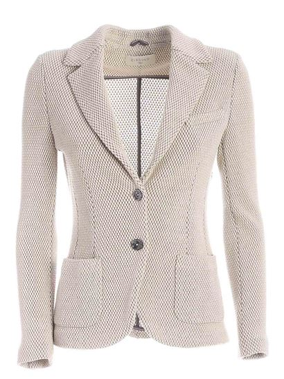 Circolo 1901 - Knitted fabric single-breasted jacket in beige