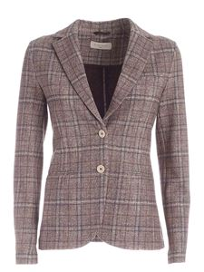 Circolo 1901 - Checked pattern single-breasted jacket in brown