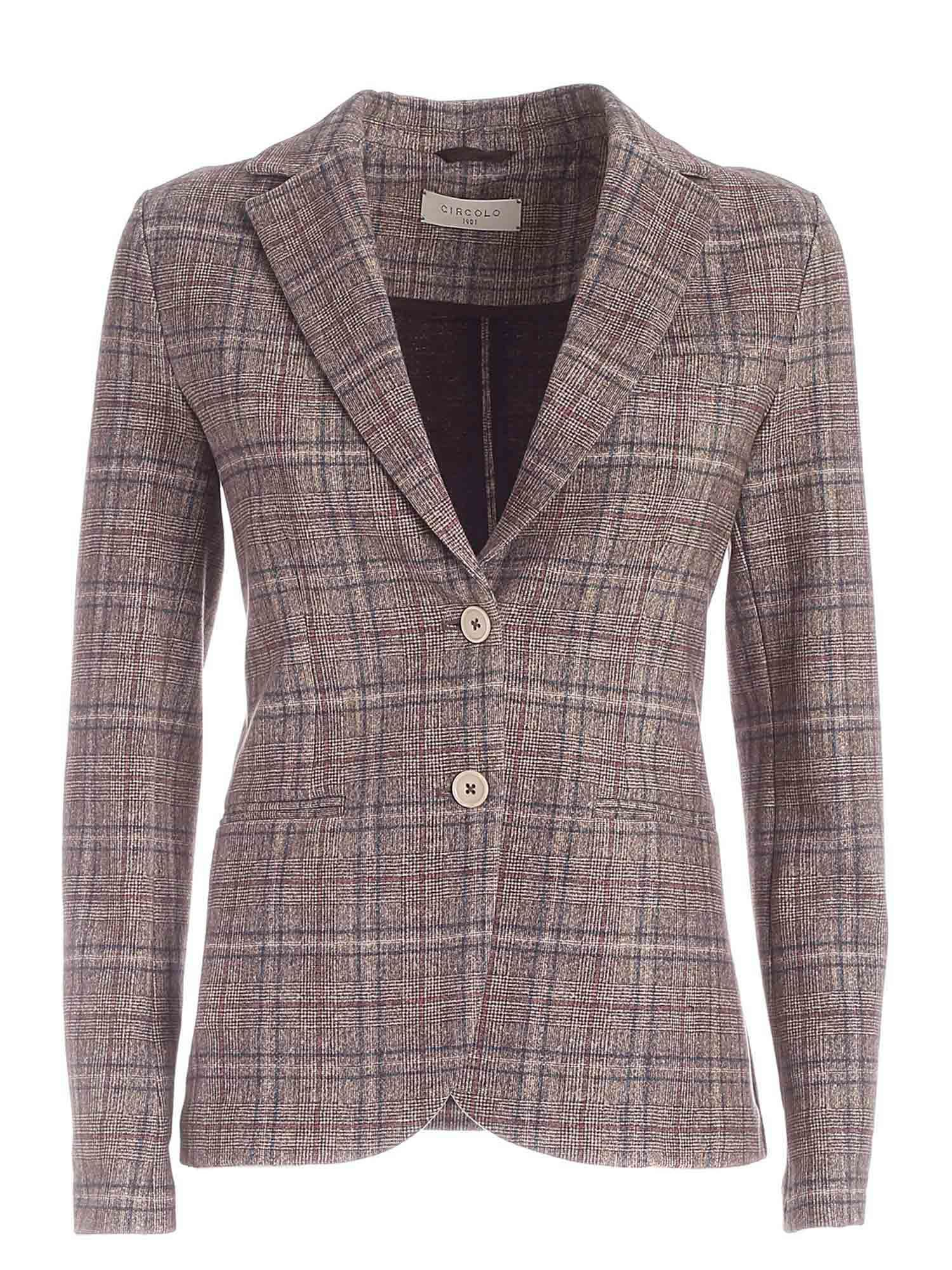 Circolo 1901 CHECKED PATTERN SINGLE-BREASTED JACKET IN BROWN