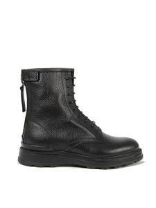 Woolrich - Zipped leather combat boots in black