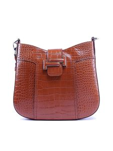 Tod's - Double T croco hobo bag in brown