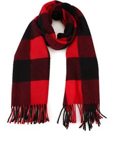 Woolrich - Check wool fringed scarf in red