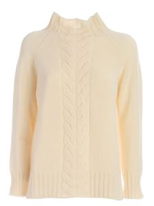 Kangra Cashmere - Tricot effect pullover in cream color