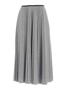 Moncler - Pleated skirt in melange grey