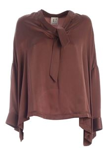 L'Autre Chose - Silk boxy shirt in brown