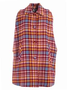 be Blumarine - Houndstooth coat in pink and burgundy color