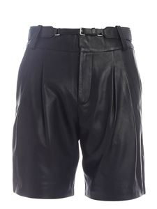 Red Valentino - Shorts in pelle nera con cintura