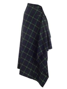 Ballantyne - Tartan print skirt in green, blue and yellow