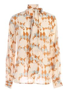 Ballantyne - Printed shirt in vory beige and light blue