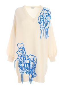 Ballantyne - Bluette embroidery knitted dress in cream color