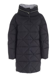 Diego M - Zipped quilted down jacket in black