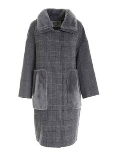 Diego M - Prince of Wales check coat in grey