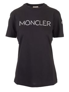 Moncler - T-shirt nera con logo frontale