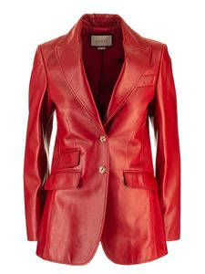 Gucci - Plongé leather jacket in red