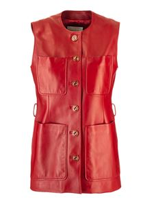 Gucci - Long plongé leather waistcoat in red