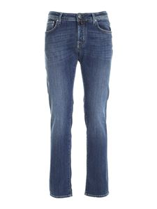 Jacob Cohën - Calf hair logo label jeans in blue