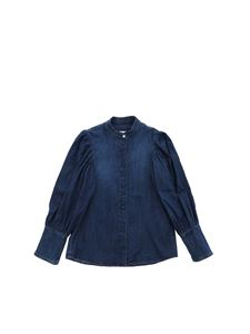 Dondup - Mandarin collar shirt in blue denim