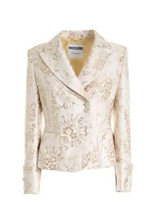 Moschino - Jacquard double-breasted jacket in beige and ocher