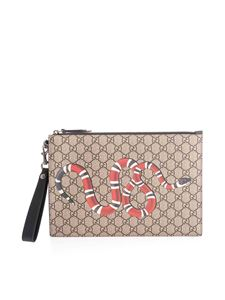 Gucci - Kingsnake GG Supreme pouch in beige
