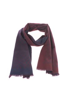 Gucci - Double GG wool scarf in burgundy and blue
