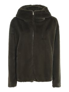 Dondup - Faux fur hooded coat in green