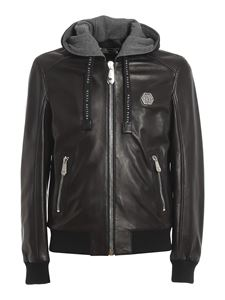 Philipp Plein - Leather hooded bomber jacket in black