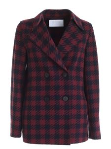 Harris Wharf London - Houndstooth jacket in blue and burgundy color