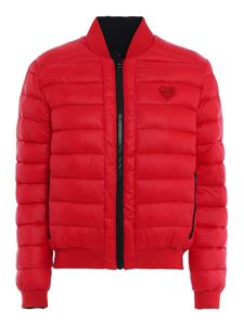 Love Moschino - Embroidered logo reversible puffer jacket in red