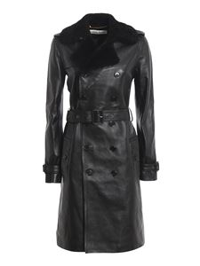 Saint Laurent - Leather trench coat in black