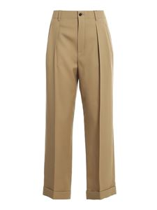 Saint Laurent - Wool gabardine wide leg trousers in beige