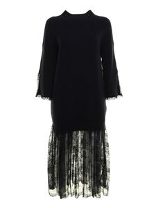 Ermanno Scervino - Lace insert knitted dress in blue