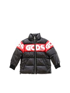GCDS - Red branded band puffer jacket in black