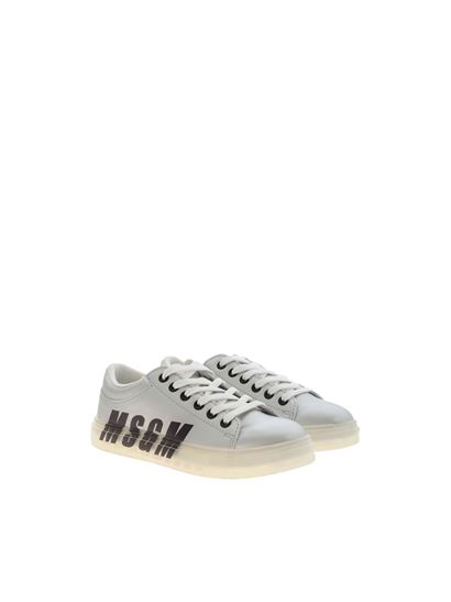 MSGM Kids - Logo print sneakers in silver color