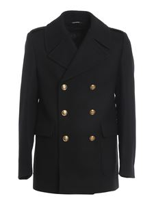 Givenchy - Virgin wool peacoat in black