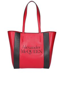 Alexander McQueen - Bicolour leather tote in red