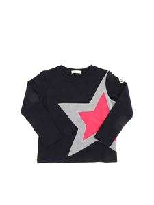Moncler Jr - Star long-sleeved T-shirt in black