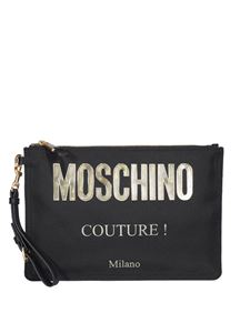 Moschino - Metallic logo clutch in black