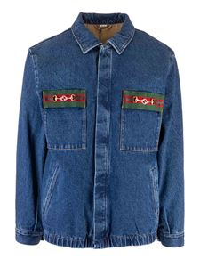 Gucci - Web tape washed denim jacket in blue