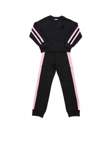 Moncler Jr - Pink bands tracksuit in black