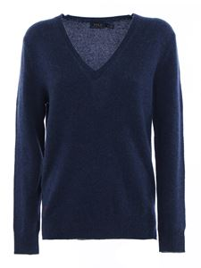 POLO Ralph Lauren - Wool cashmere blend V-neck sweater in blue
