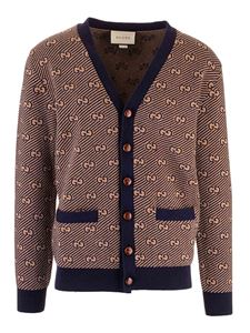 Gucci - GG wool and cashmere cardigan in camel and blue color
