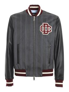 Dsquared2 - Striped leather bomber jacket in grey