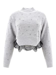Self-Portrait - Crystal and lace embellished sweater in grey