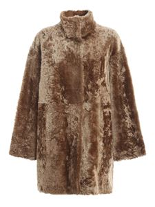 DROMe - Leather and fur reversible coat in brown